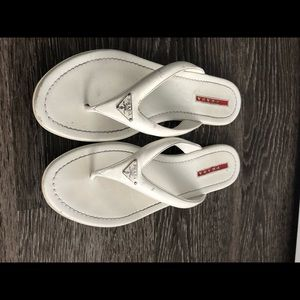 PRADA Made in Italy White Thong Sandals Size 39